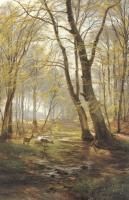 Aagard, Carl Fredrik - A Woodland Scene With Deer