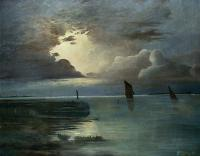 Achenbach, Andreas - Sunset at the Sea with Thunderstorm