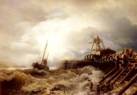 Achenbach, Andreas - A Fishing Boat Caught In A Squall Off A Jetty