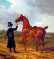 Agasse, Jacques-Laurent - Lord Rivers' Groom Leading a Chestnut Hunter towards a Coursing Party in Hampshire