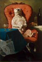 Alfred Dedreux - Pug Dog in an Armchair