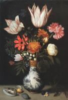 Ambrosius Bosschaert - Tulips, Roses, a Pink and White Carnation