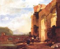 Asselijn, Jan - Graphic Italian Landscape with the Ruins of a Roman Bridge and Aqueduct