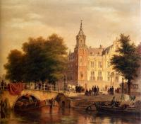 Bartholomeus Johannes Van Hove - A Sunlit Townview With Figures Gathered On A Square Along A Canal
