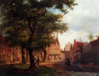 Bartholomeus Johannes Van Hove - A Village Square With Villagers Conversing Under Trees