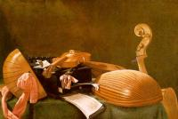 Baschenis, Evaristo - Graphic Still-Life of Musical Instruments