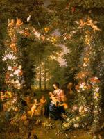 Brueghel, Jan the Elder - Holy Family in a Flower and Fruit Wreath (painted with Pieter van Avont)