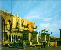 Canaletto - Capriccio- The Horses of San Marco in the Piazzetta