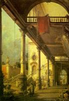 Canaletto - Capriccio- A Colonnade Opening onto the Courtyard of a Palace