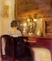 Carl Holsoe - A Lady Playing the Spinet