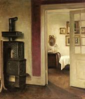Carl Holsoe - An Interior with a Stove and a View into a Dining Room