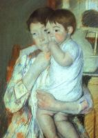 Cassatt, Mary - Mother and Child Against a Green Background (Maternity)