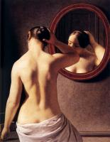 Christoffer Wilhelm Eckersberg - Woman Standing In Front Of A Mirror
