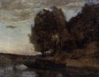 Corot, Jean-Baptiste-Camille - Fisherman Boating along a Wooded Landscape