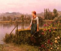 Daniel Ridgway Knight - A Woman With A Watering Can By The River