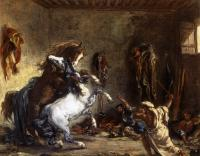 Delacroix, Eugene - Arab Horses Fighting in a Stable