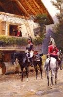 Detaille, Edouard - Mounted First-Empire Dragoons In Front Of A Country House