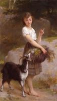Emile Munier - young girl with goat and flowers