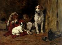 Emms, John - Hounds And A Jack Russell In A Stable