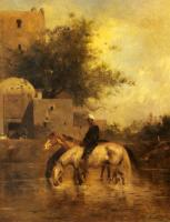 Eugene Fromentin - Horses Watering In A River