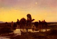 Eugene-Alexis Girardet - Camel Train By An Oasis At Dawn