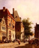 Eversen, Adrianus - A Sunlit Street On A Market Day