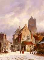 Eversen, Adrianus - A Winter Street Scene