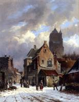 Eversen, Adrianus - Figures In A Snowy Village Street