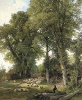 Frederick William Hulme - Sheep resting in a woodland glade, a traveller looking on