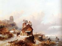 Frederik Marianus Kruseman - A Winterlandscape With A Horserider On A Track Passing A Farmhouse