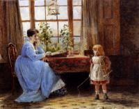 George Goodwin Kilburne - A Mother And Child In An Interior
