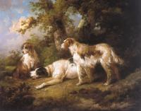 George Morland - Dogs In Landscape,Setters & Pointer