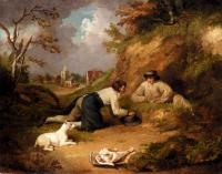 George Morland - Two Men Hunting Rabbits With Their Dog A Village Beyond