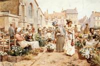 Glendening, Alfred - Flower Market in a French Town