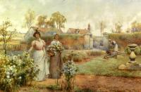 Glendening, Alfred - A Lady And Her Maid Picking Chrysanthemums