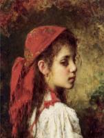 Harlamoff, Alexei Alexeievich - Portrait of a Young Girl in a Red Kerchief