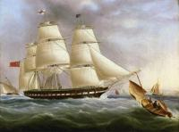 James E Buttersworth - A Three-Masted Ship off Dover