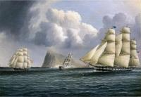 James E Buttersworth - American Frigate off Gibralter Flying a Commodore's Pennant