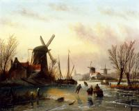 Jan Jacob Coenraad Spohler - A Frozen River Landscape