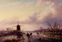 Jan Jacob Coenraad Spohler - A Winter Landscape With Figures On A Frozen Waterway
