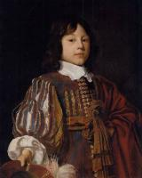 Jan Mytens - Portrait of a young gentleman in a burgundy doublet with slashed sleeves
