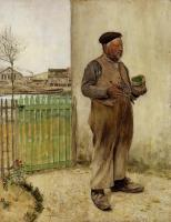 Jean Francois Raffaelli - Man Having Just Painted His Fence