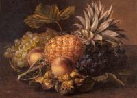 Johan Laurentz Jensen - Grapes a Pineapple Peaches and Hazelnuts In A Basket