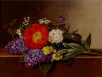 Johan Laurentz Jensen - Lilacs Violets Pansies Hawthorn Cuttings And Peonies On A Marble Ledge