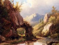 Johann Bernard Klombeck - A Mountain Valley With A Peasant And Cattle Passing Along A Stream