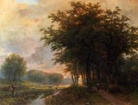 Johann Bernard Klombeck - A Wooded River Valley With Peasants On A Path