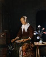 Metsu, Gabriel - Woman Eating and Feeding her Cat