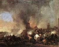 Wouwerman, Philips - Cavalry Battle in front of a Burning Mill