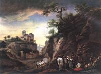 Wouwerman, Philips - Rocky Landscape with resting Travellers