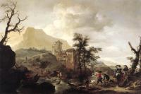 Wouwerman, Philips - Stag Hunt in a River